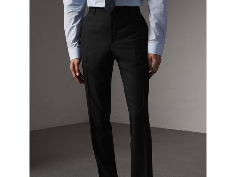 Modern Fit Wool Trousers in Black - Men | Burberry Singapore - cell image 4