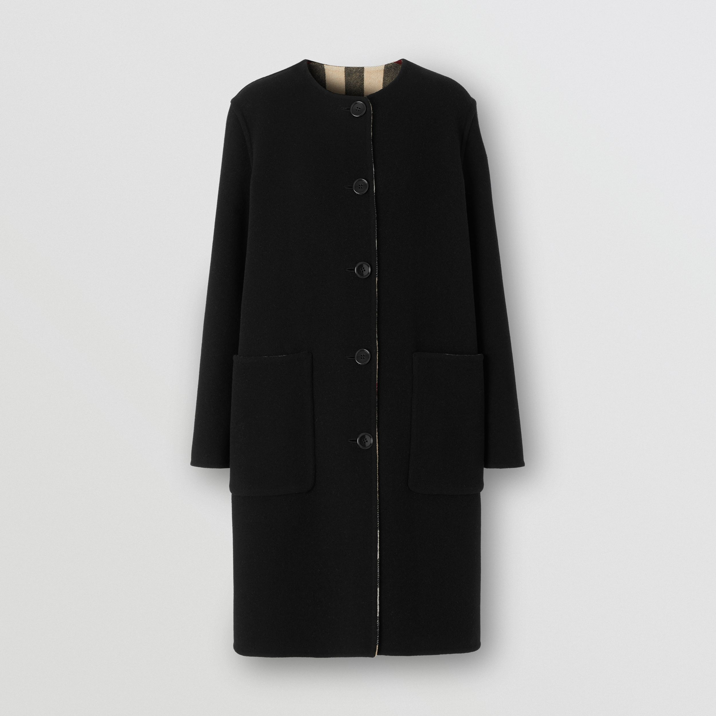 Reversible Check Technical Wool Coat in Black - Women | Burberry Singapore - 4