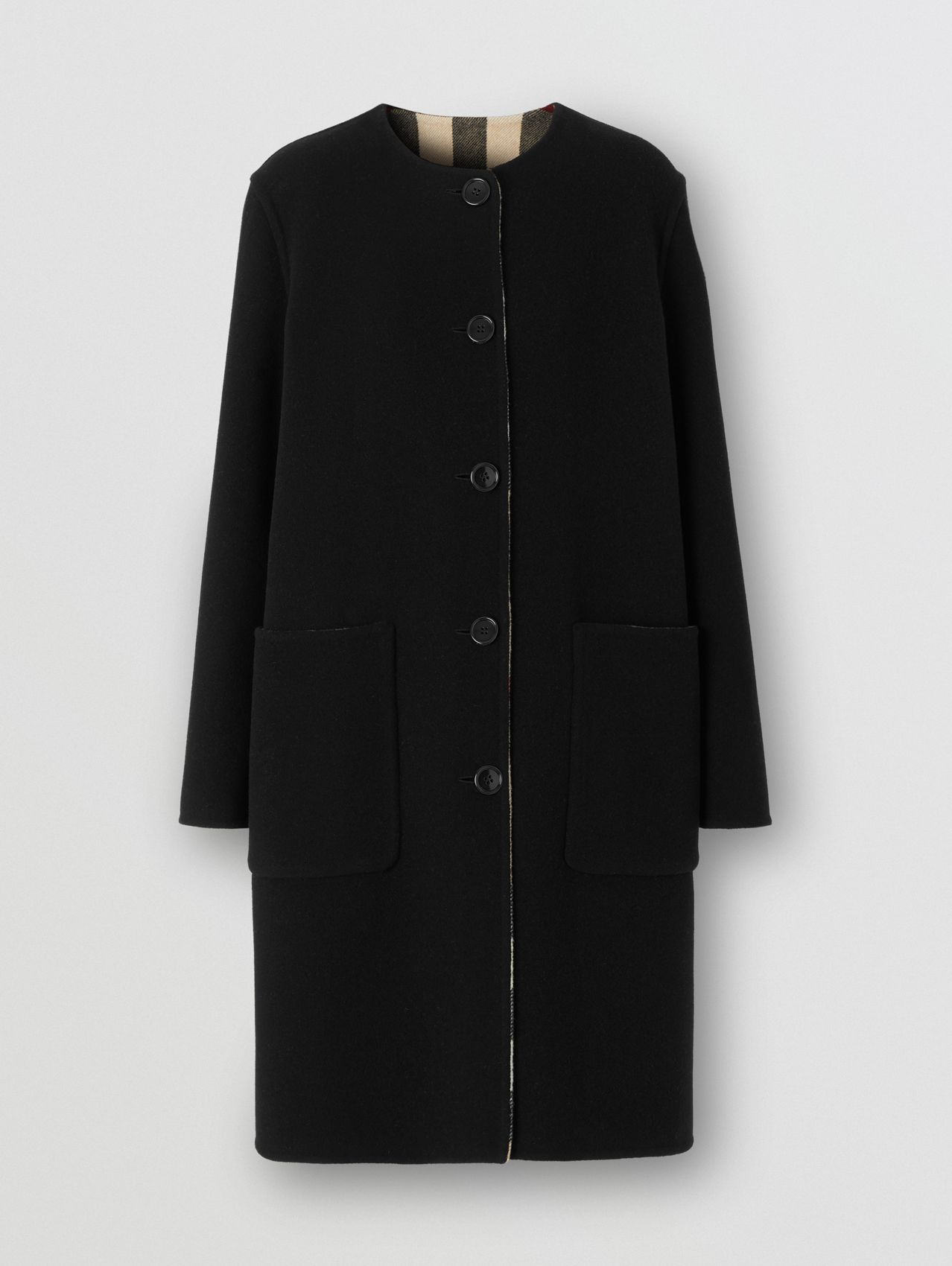 Reversible Check Technical Wool Coat in Black