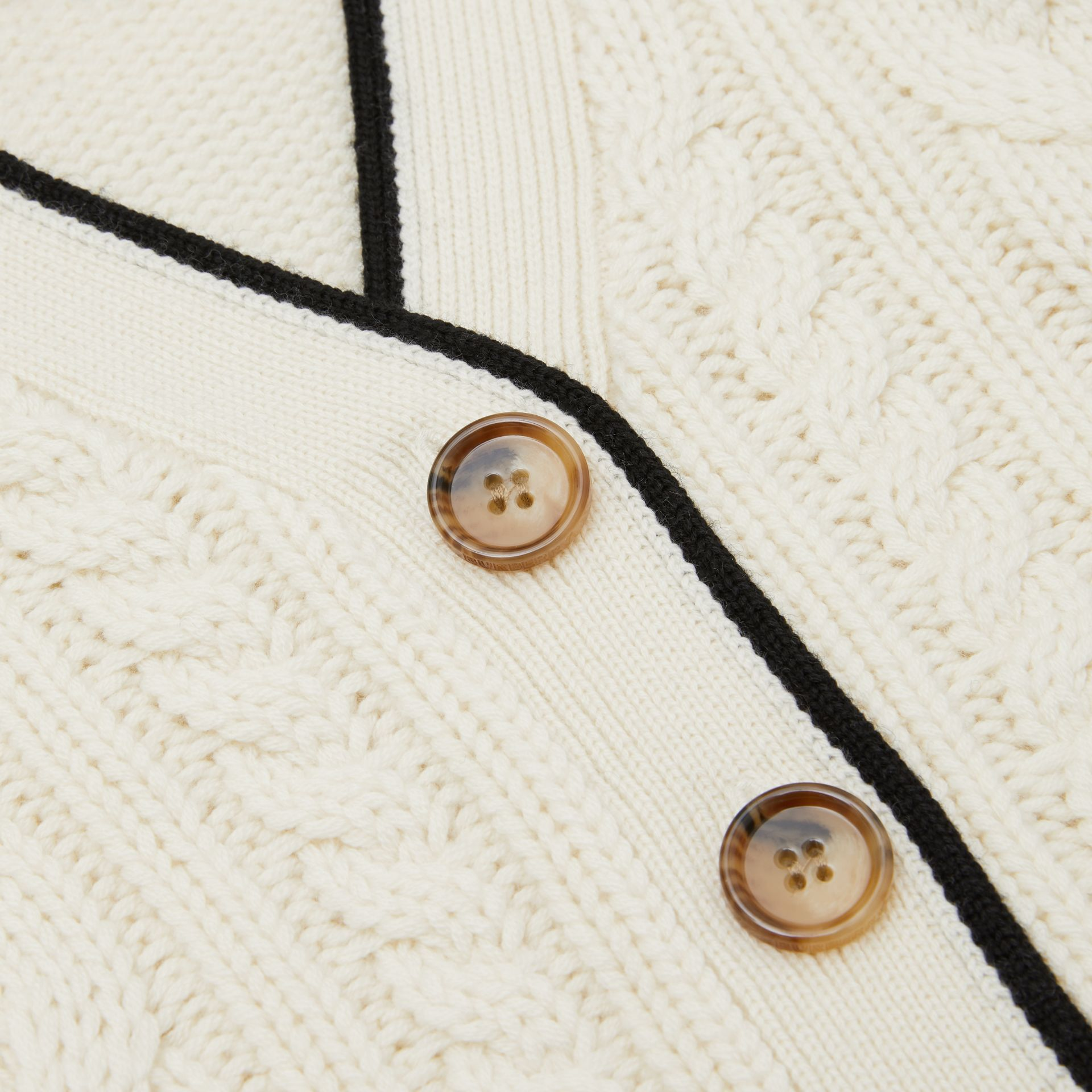 Logo Panel Cable Knit Wool Cashmere Cardigan in Ivory | Burberry - gallery image 1