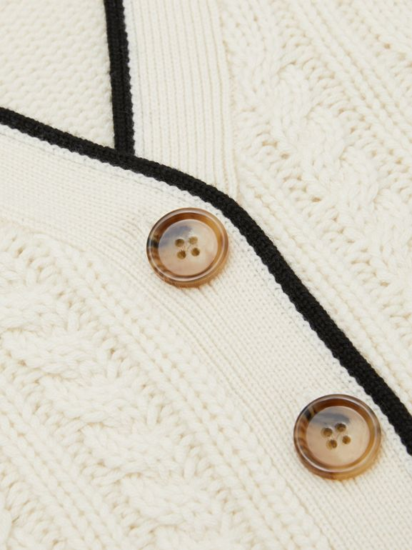 Logo Panel Cable Knit Wool Cashmere Cardigan in Ivory | Burberry - cell image 1