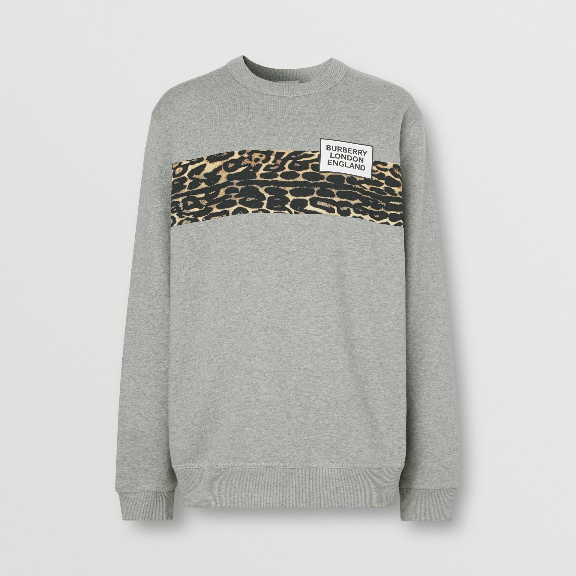 Montage Print Cotton Sweatshirt in Pale Grey Melange - Men | Burberry - gallery image 3