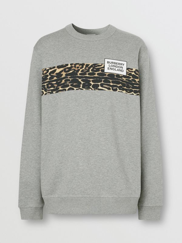 Montage Print Cotton Sweatshirt in Pale Grey Melange - Men | Burberry - cell image 3