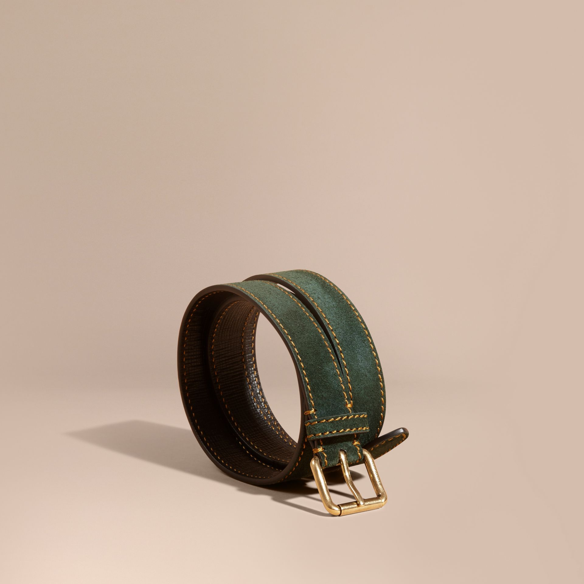 Dark forest green English Suede Belt with Topstitch Detail - gallery image 1