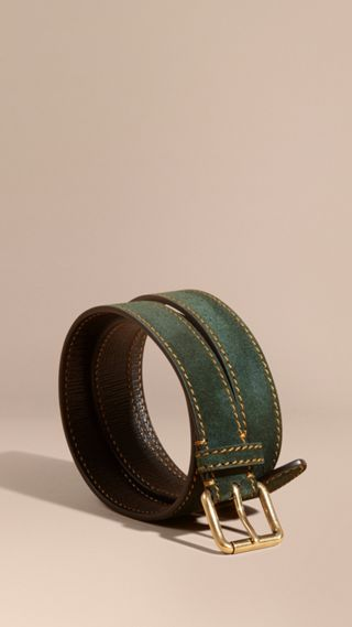 English Suede Belt with Topstitch Detail