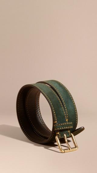 Ceinture en cuir velours anglais avec surpiqûres