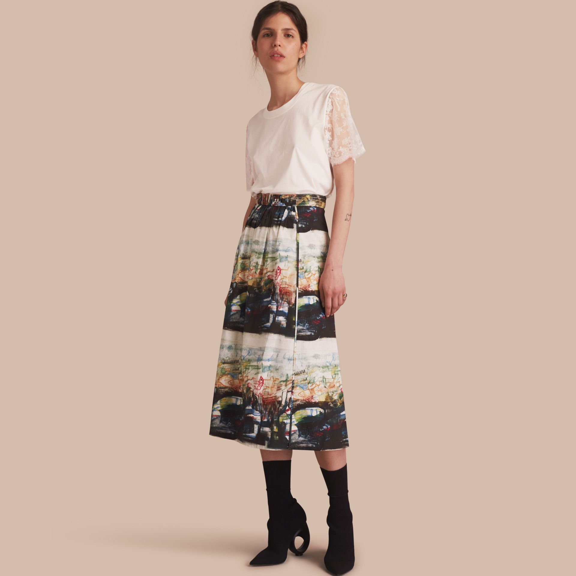 Reclining Figures: Bunched Print Stretch Cotton Skirt - gallery image 1