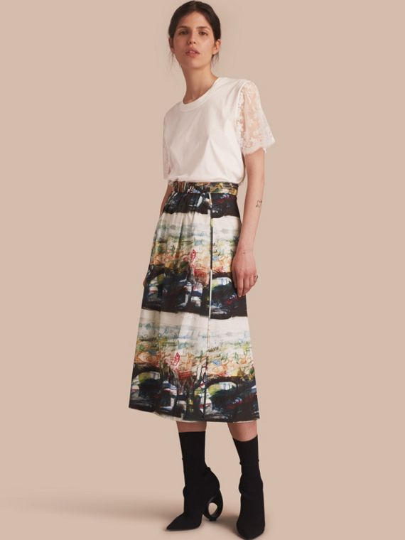 Reclining Figures: Bunched Print Stretch Cotton Skirt