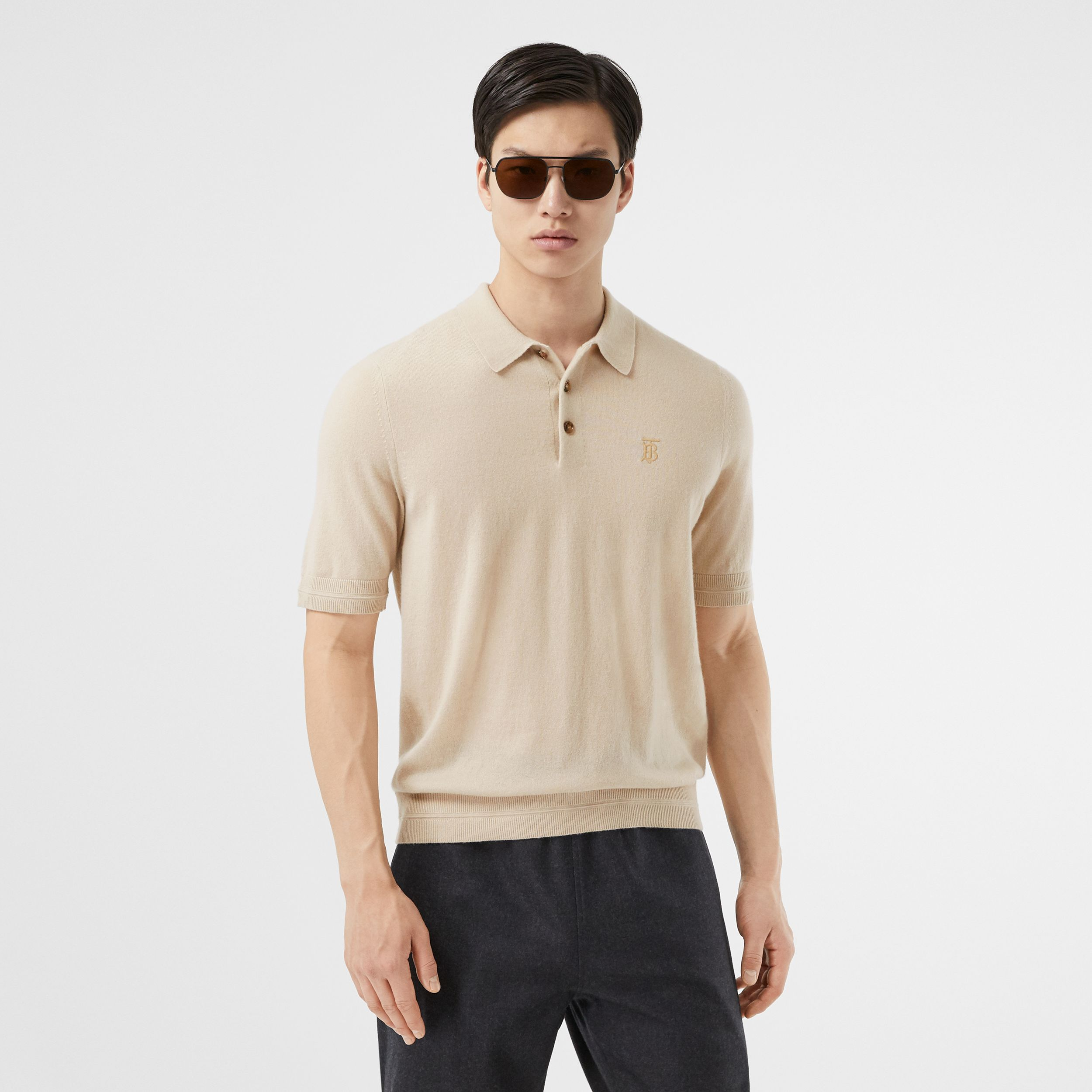 Monogram Motif Cashmere Polo Shirt in Soft Fawn - Men | Burberry - 1