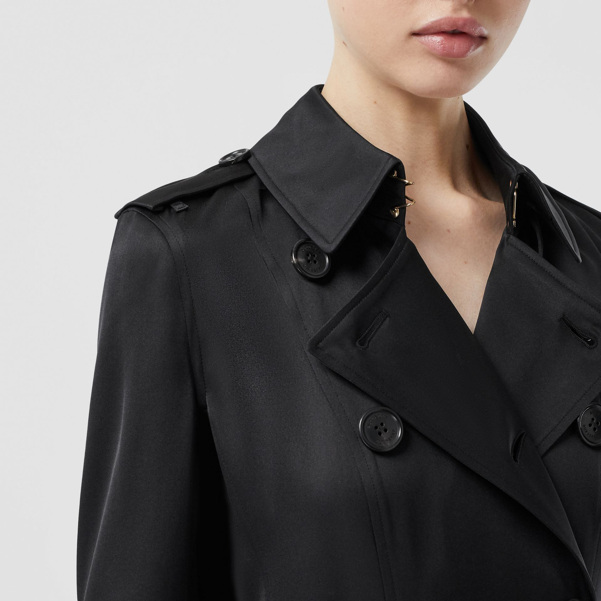 Silk Satin Trench Coat in Black - Women | Burberry - gallery image 1