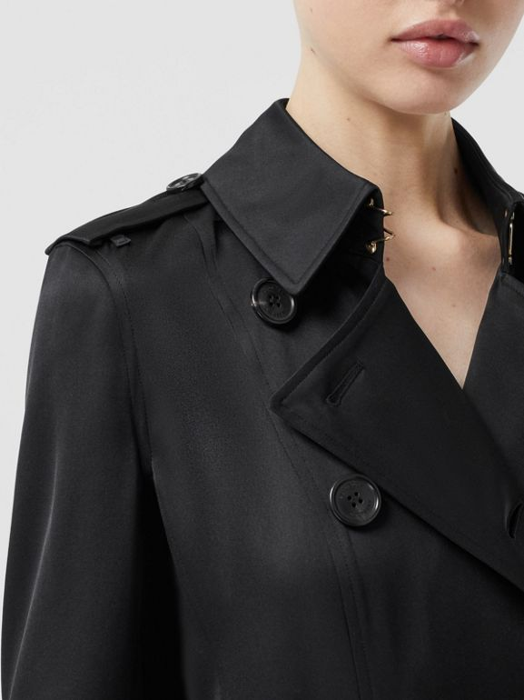 Silk Satin Trench Coat in Black - Women | Burberry - cell image 1
