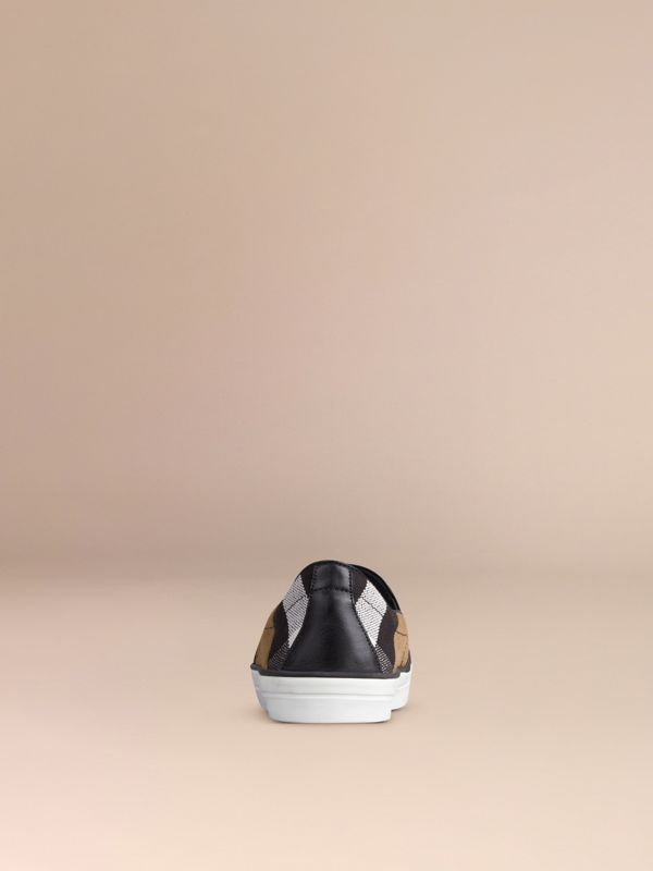 Check Slip-On Trainers in Black - Women | Burberry - cell image 3