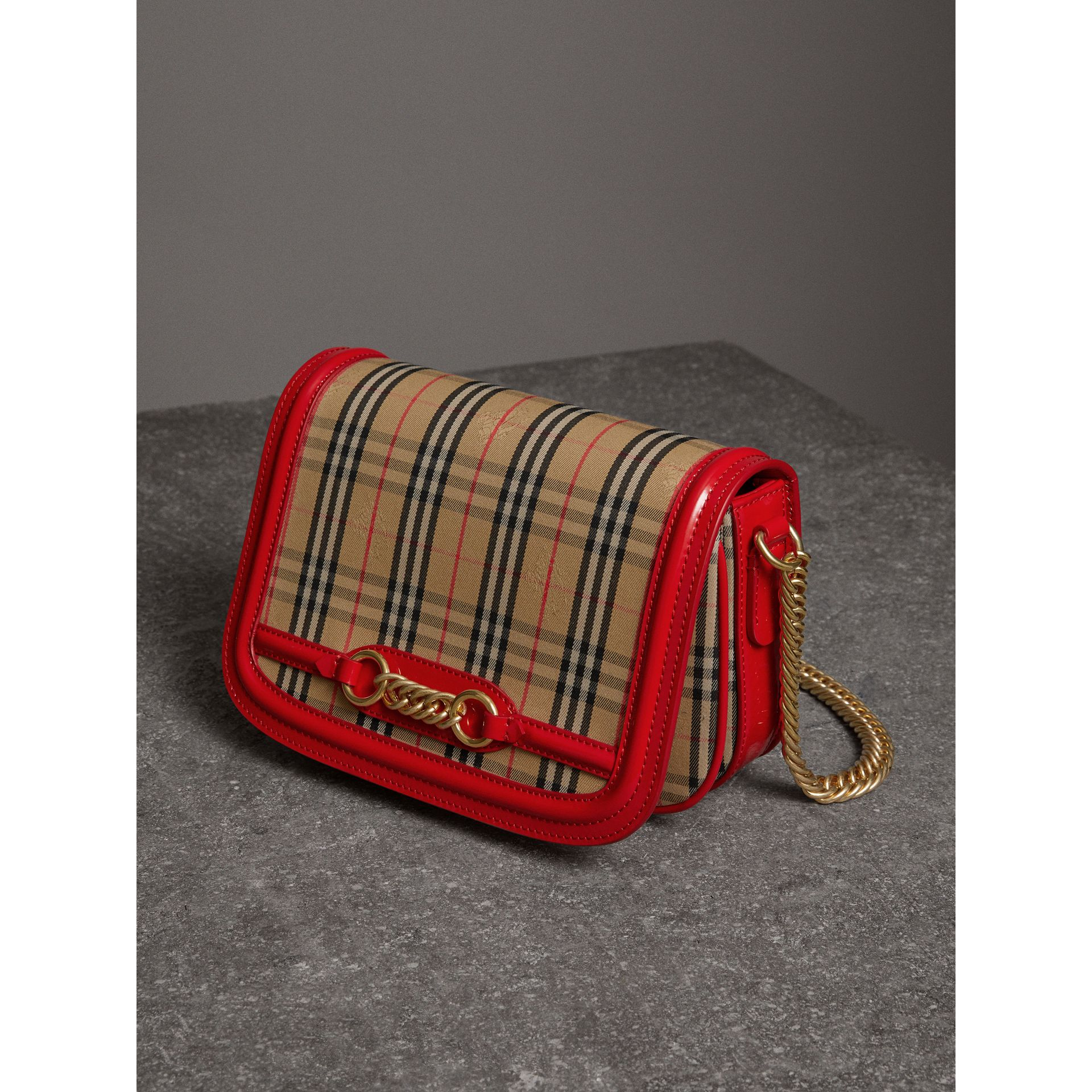 The 1983 Check Link Bag with Patent Trim in Bright Red - Women | Burberry United States - gallery image 6