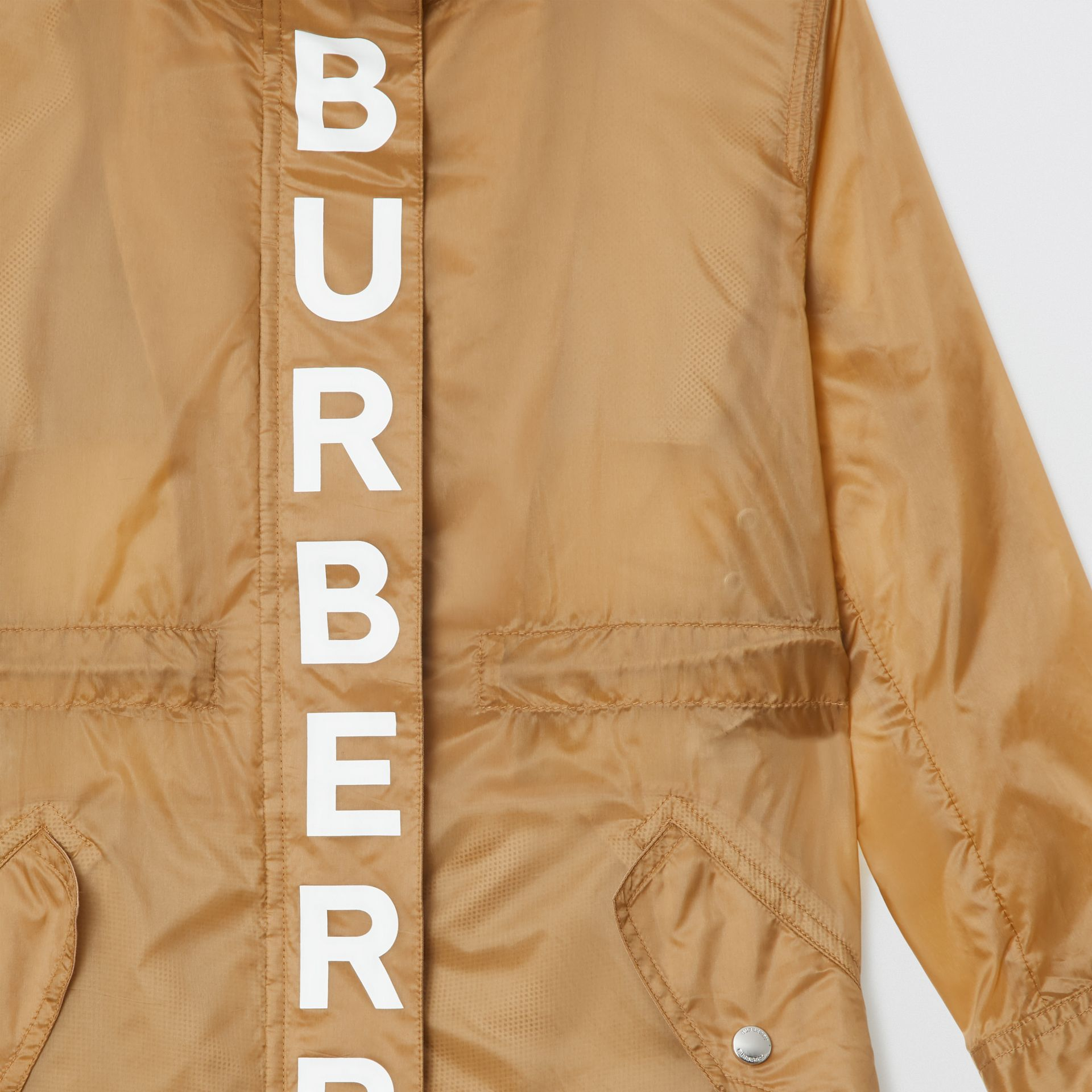 Detachable Hood Logo Print Lightweight Parka in Honey | Burberry - gallery image 5