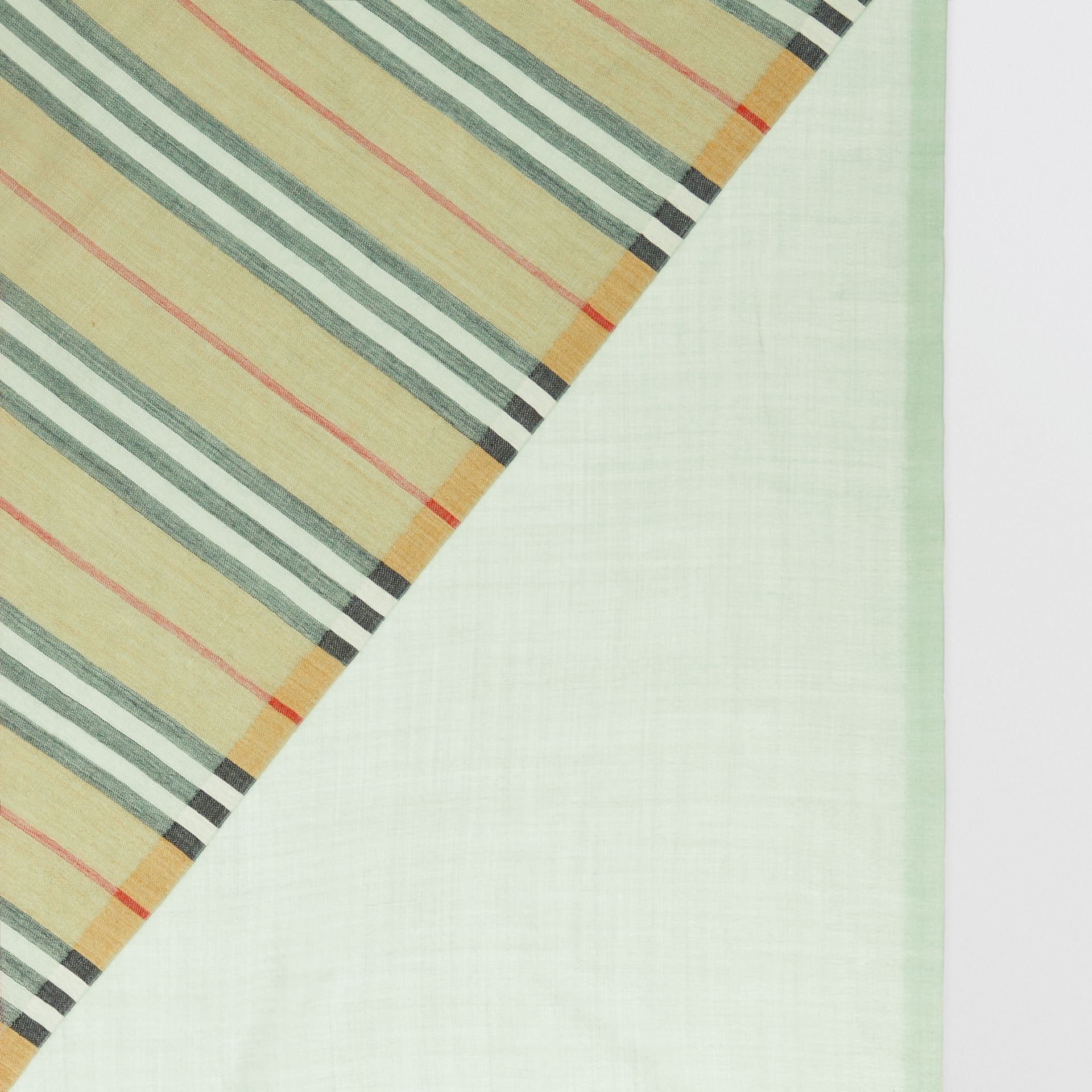 Vintage Check Colour Block Wool Silk Scarf in Light Mint | Burberry Australia - gallery image 1