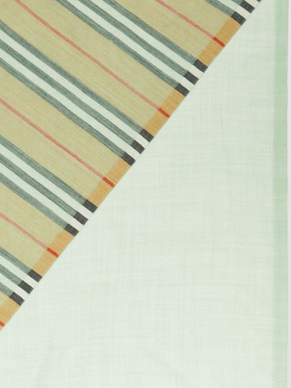 Vintage Check Colour Block Wool Silk Scarf in Light Mint | Burberry - cell image 1
