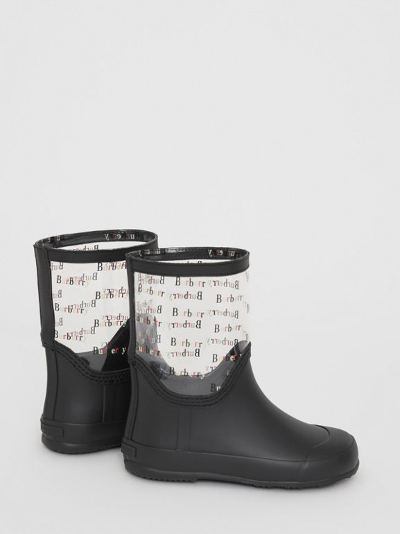 Logo Print Rubber Rain Boots in Black | Burberry - cell image 1