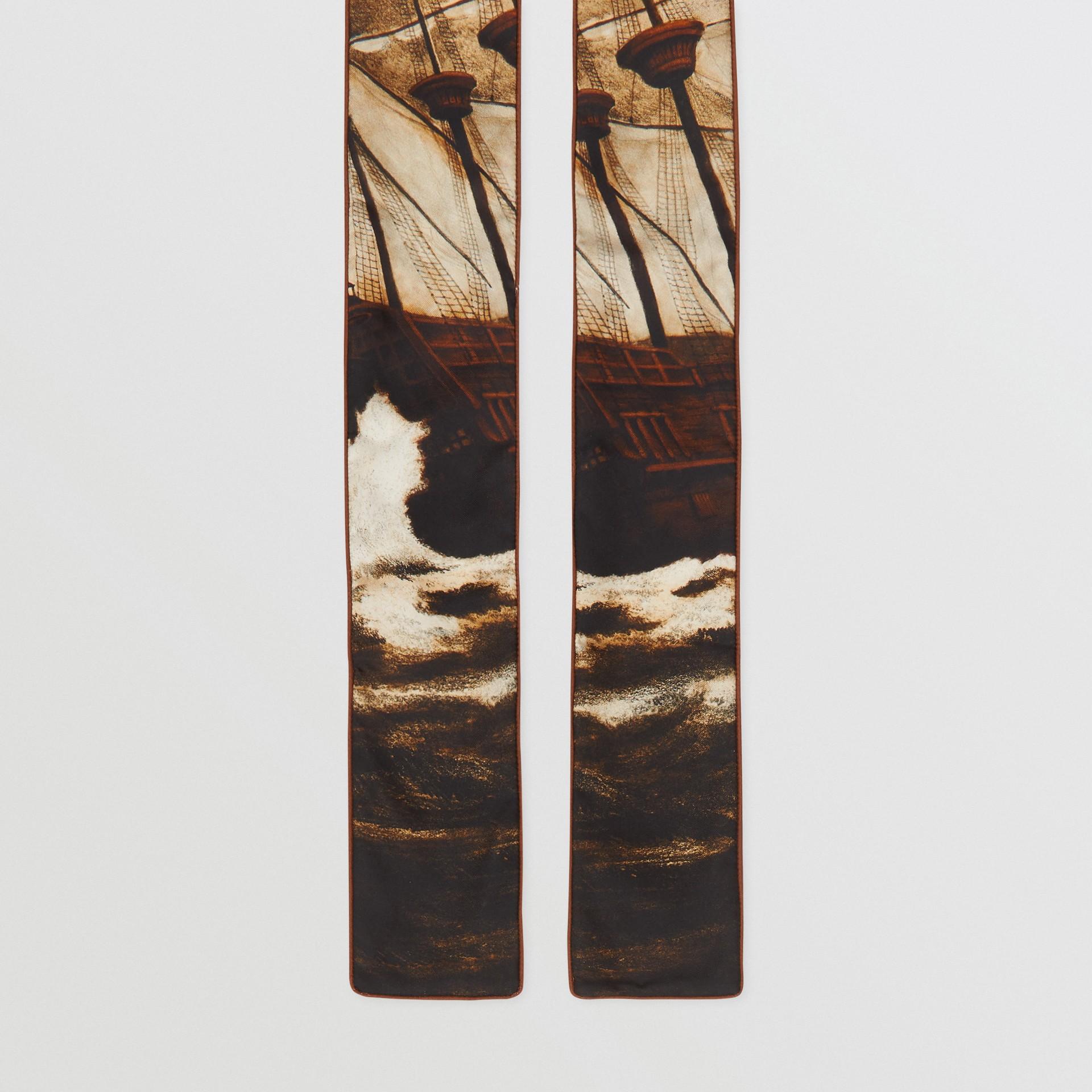 Mariner Print Silk Skinny Scarf in Brown | Burberry United States - gallery image 4