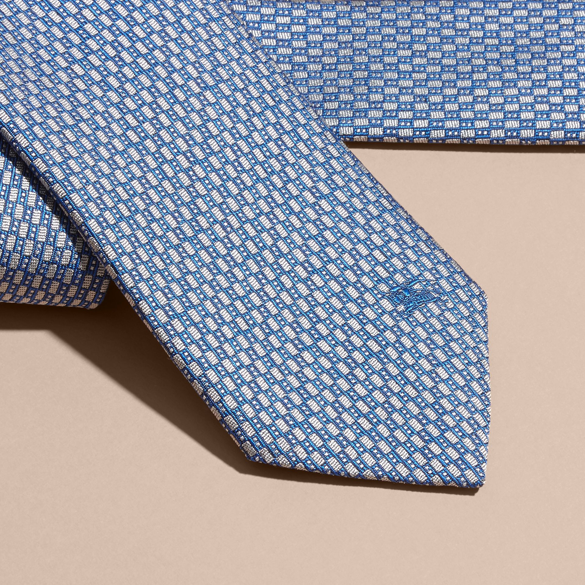 Modern Cut Silk Jacquard Tie in Mineral Blue - gallery image 2
