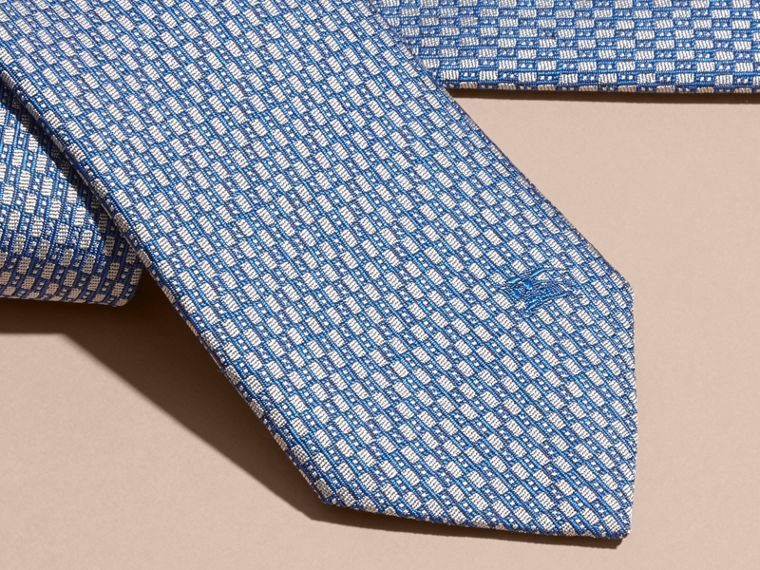 Modern Cut Silk Jacquard Tie in Mineral Blue - cell image 1