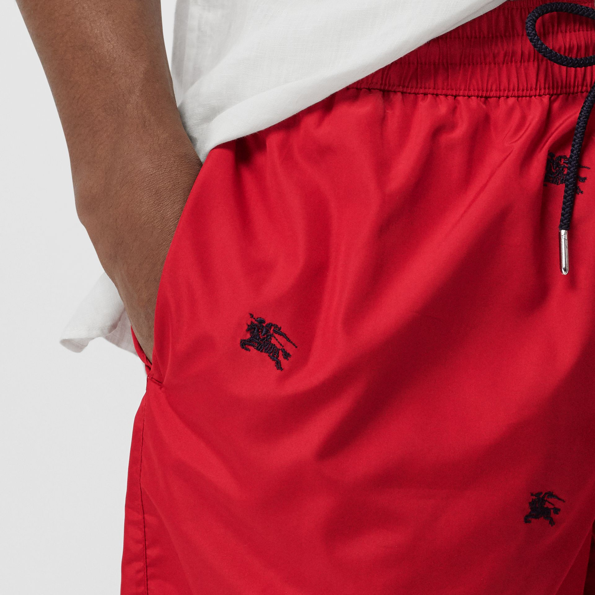 Archive Logo Drawcord Swim Shorts in Parade Red - Men | Burberry - gallery image 1