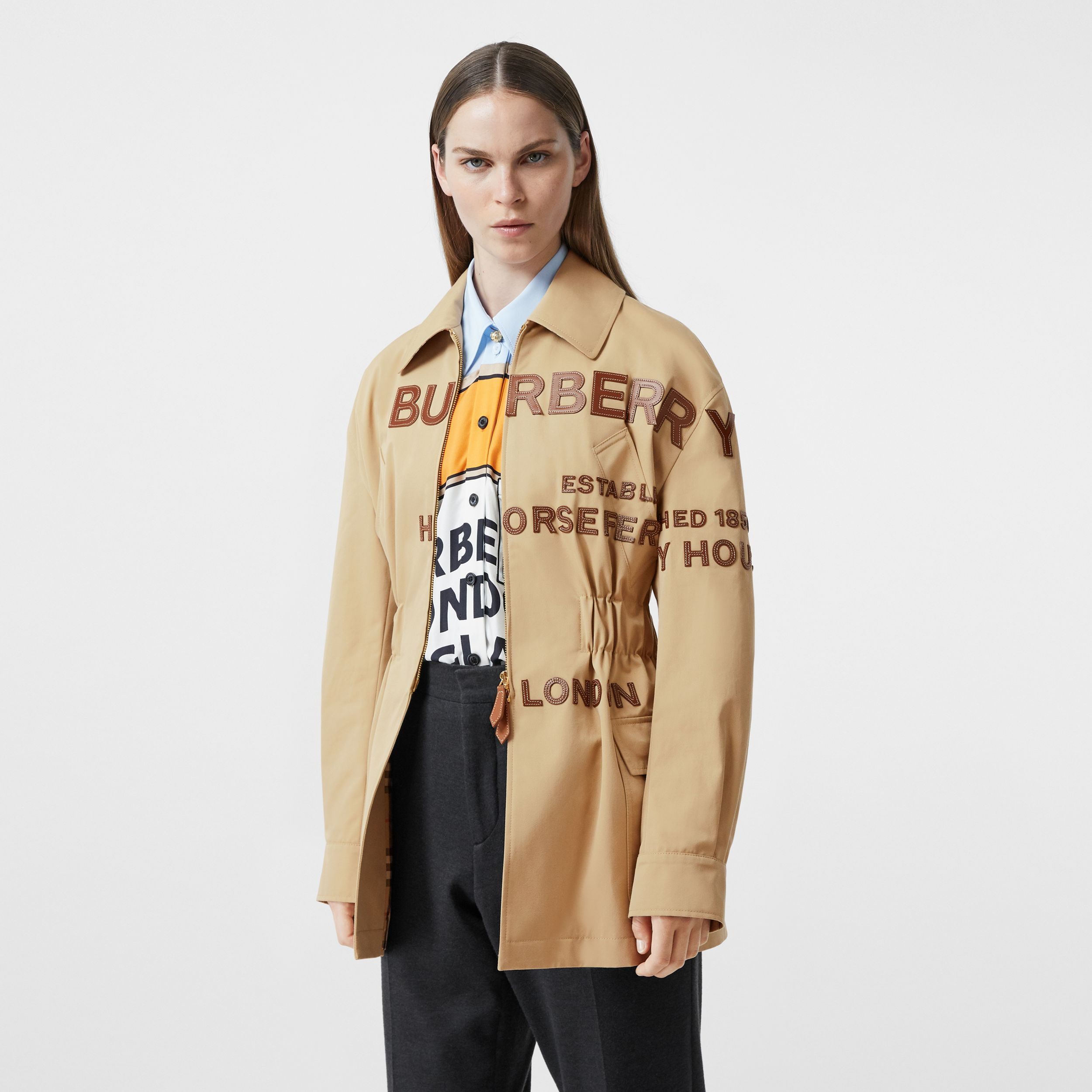 Leather Horseferry Appliqué Cotton Riding Jacket in Honey - Women | Burberry Australia - 1