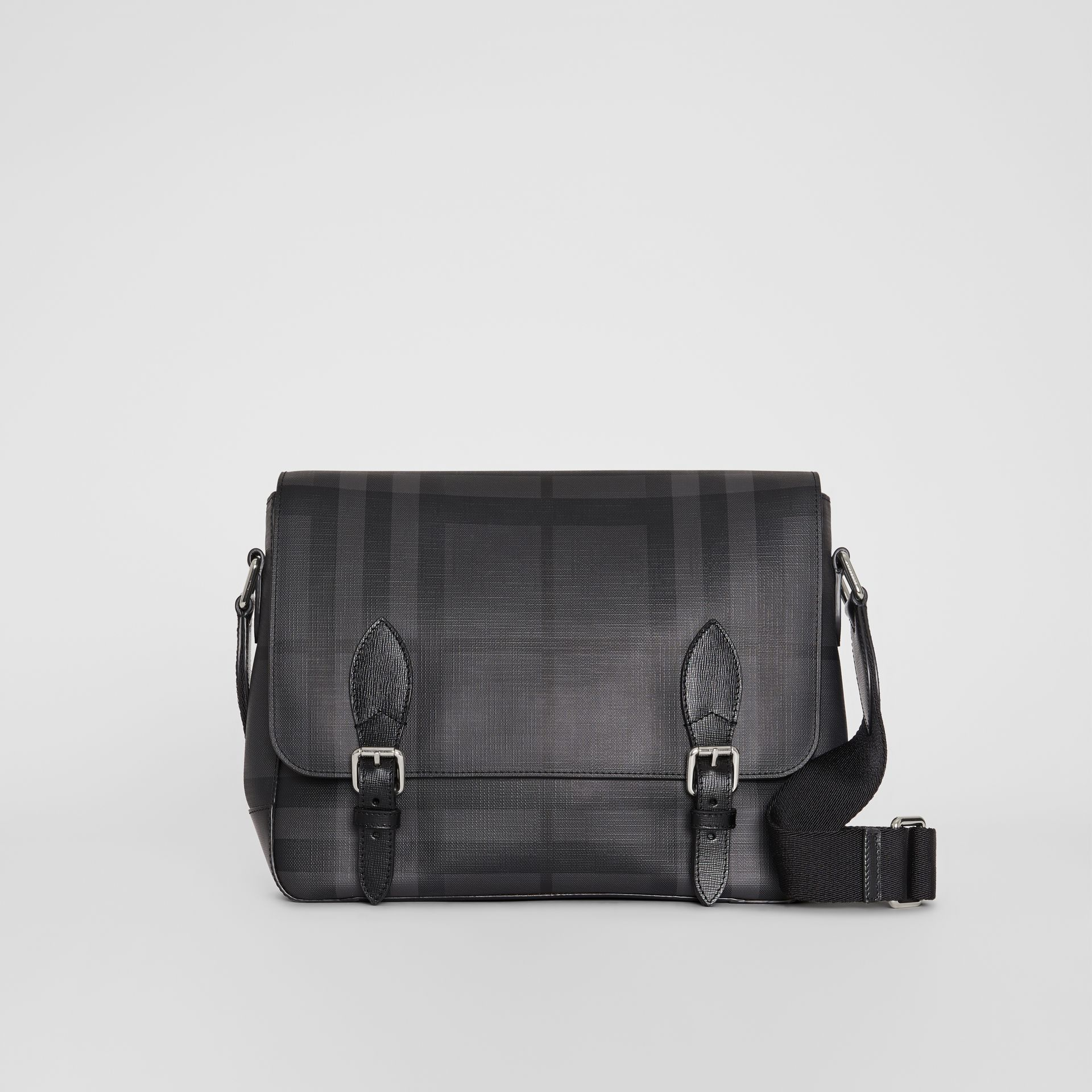 Medium Leather Trim London Check Messenger Bag in Charcoal/black - Men | Burberry - gallery image 4