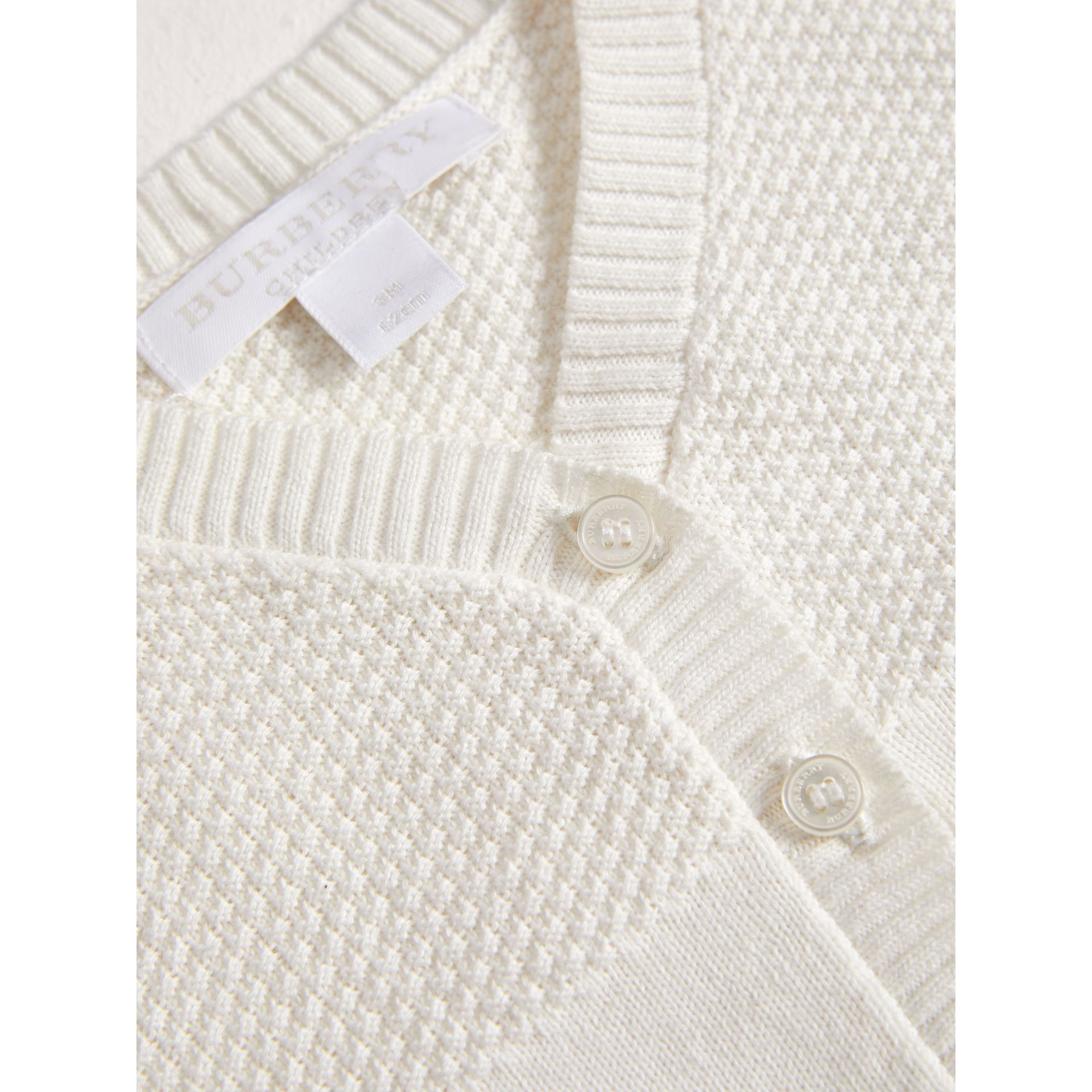 Multi-stitch Cotton Cardigan in White | Burberry - gallery image 1
