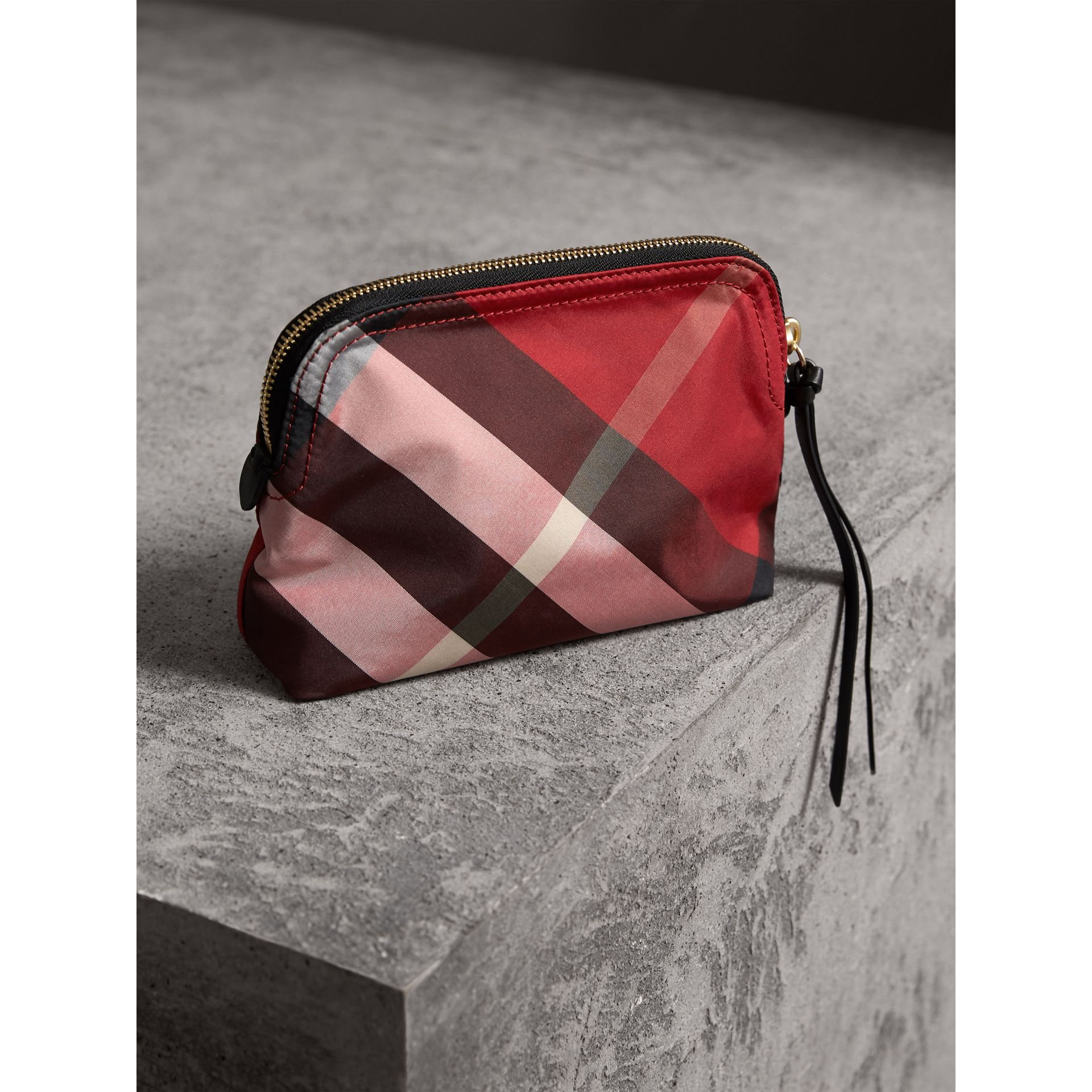 Medium Zip-top Check Technical Pouch in Parade Red - Women | Burberry - gallery image 4
