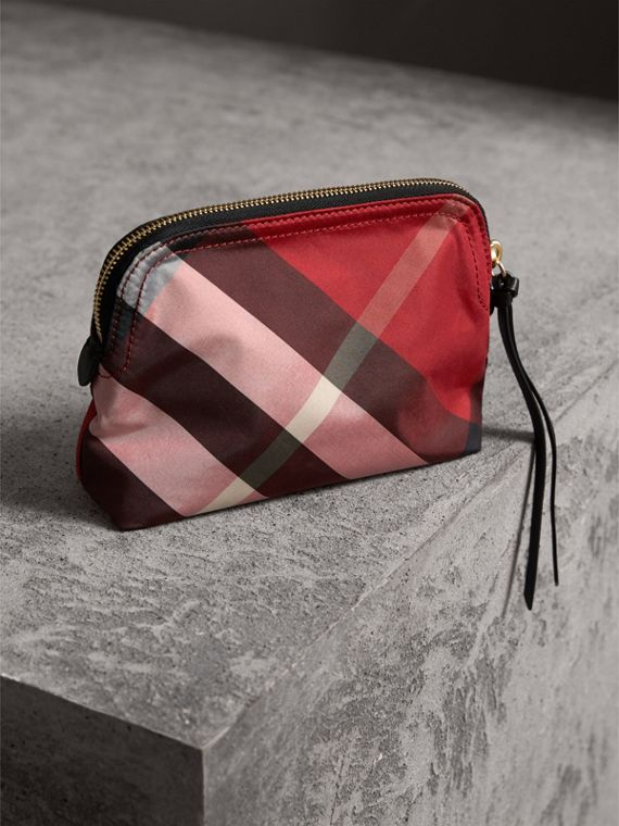 Medium Zip-top Check Technical Pouch in Parade Red - Women | Burberry - cell image 3