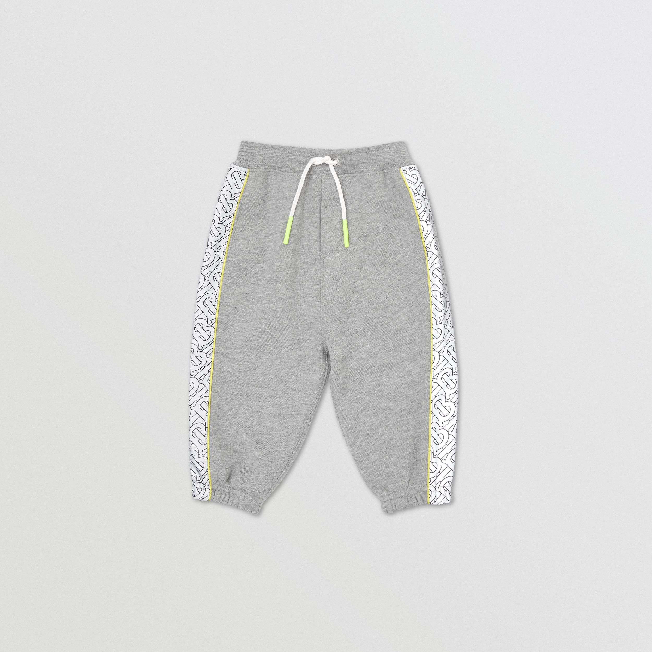 Monogram Print Panel Cotton Jogging Pants in Grey Melange - Children | Burberry - 1