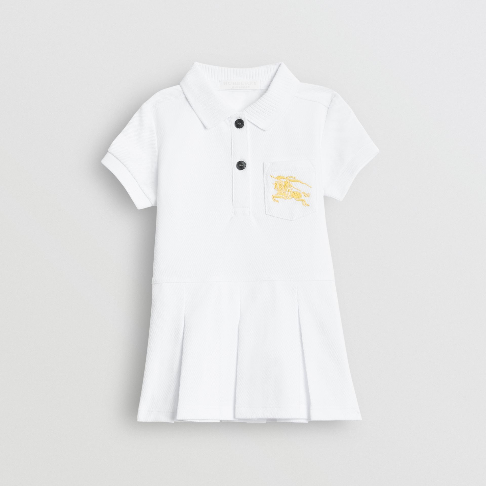 EKD Logo Cotton Polo Dress in White - Children | Burberry United States - gallery image 0
