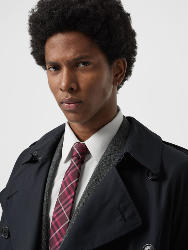 Slim Cut Check Silk Tie in Dark Elderberry - Men | Burberry Singapore - cell image 2