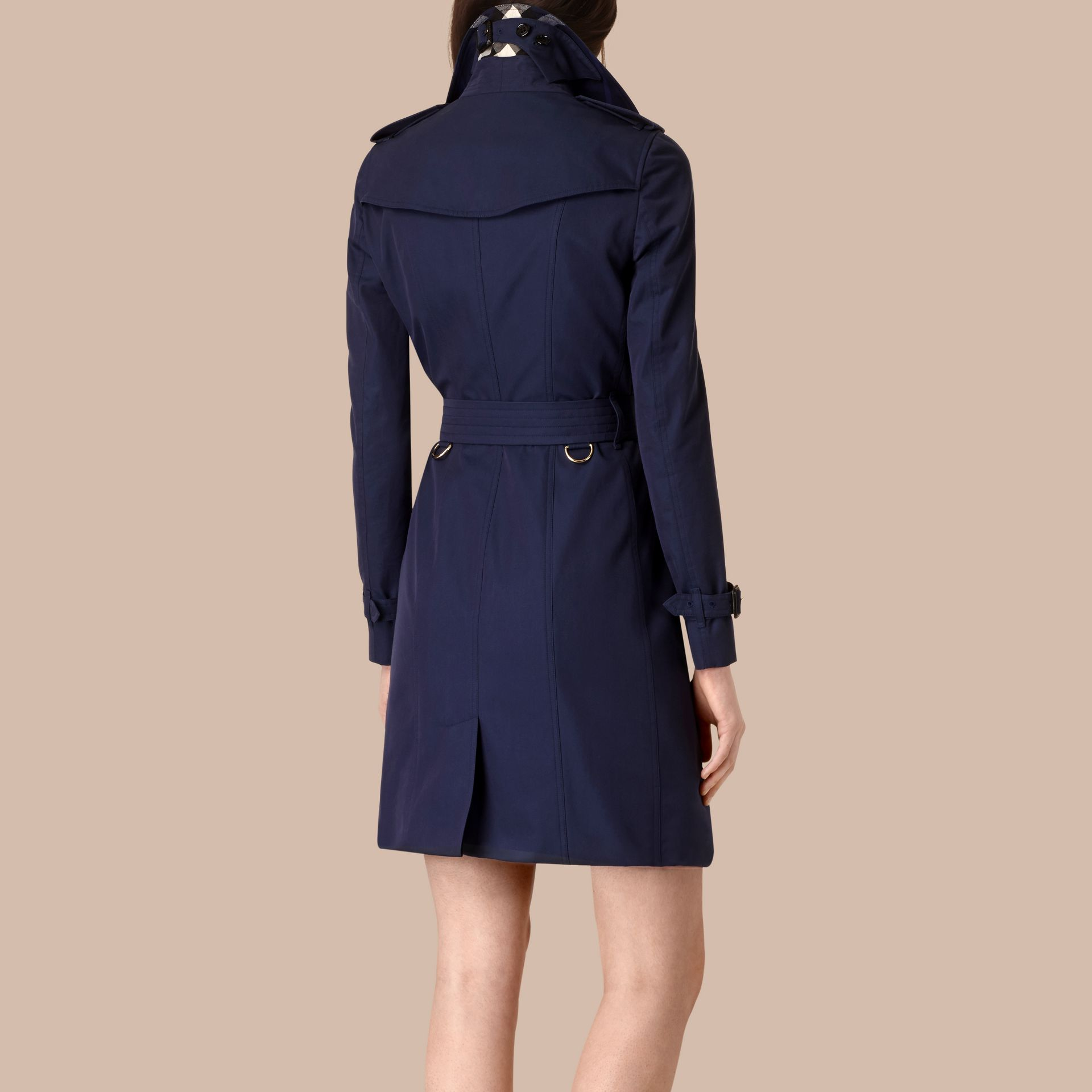 Ink blue Cotton Gabardine Trench Coat Ink Blue - gallery image 3
