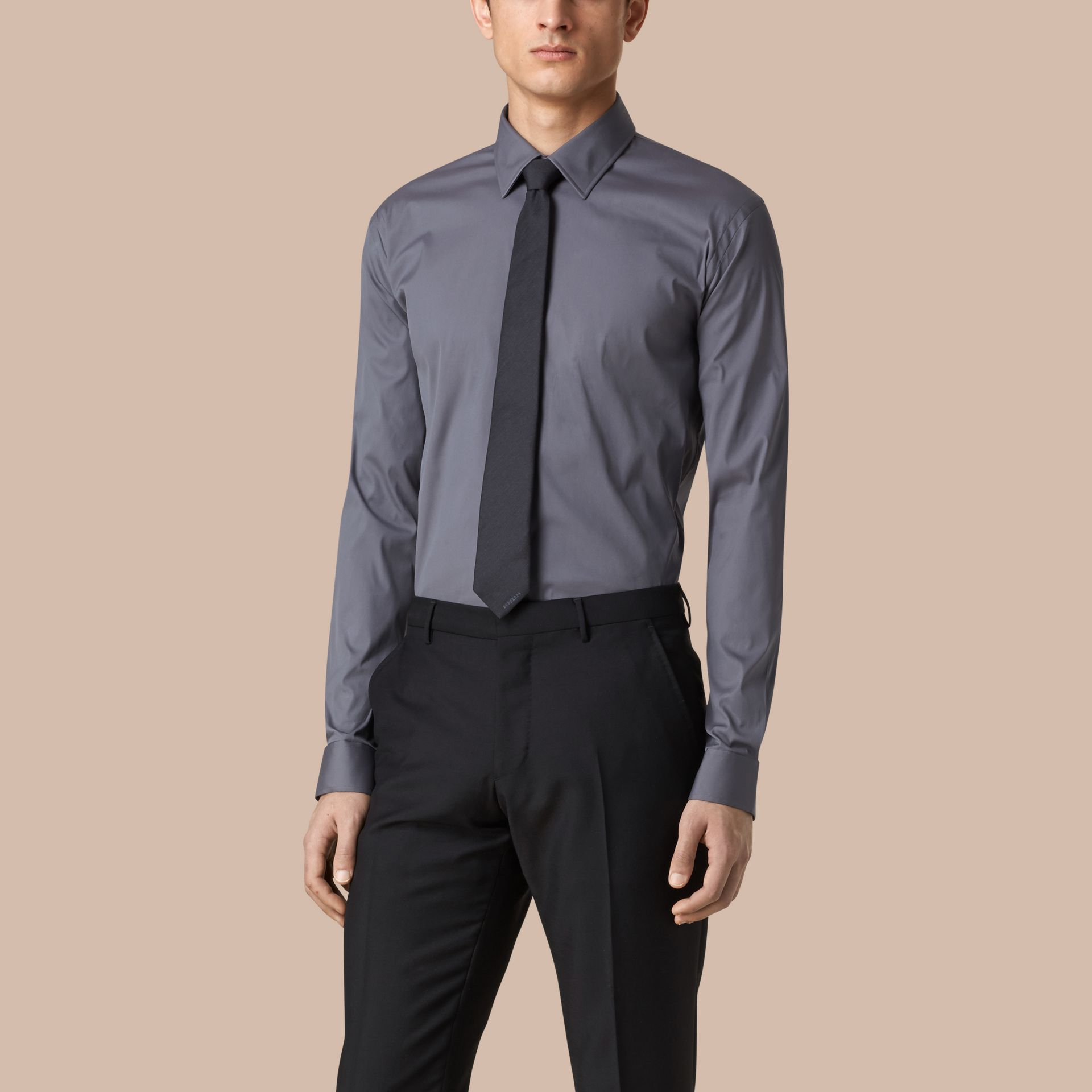 Modern Fit Stretch Cotton Shirt in City Grey - gallery image 1