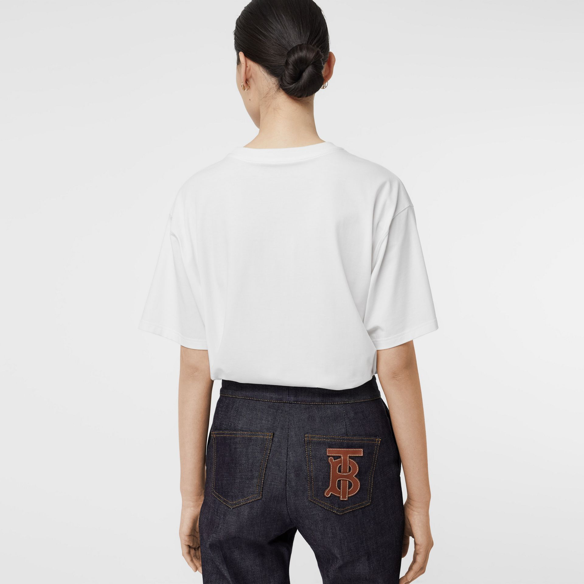 T-shirt oversize en coton stretch avec logo (Blanc Optique) - Femme | Burberry - photo de la galerie 2