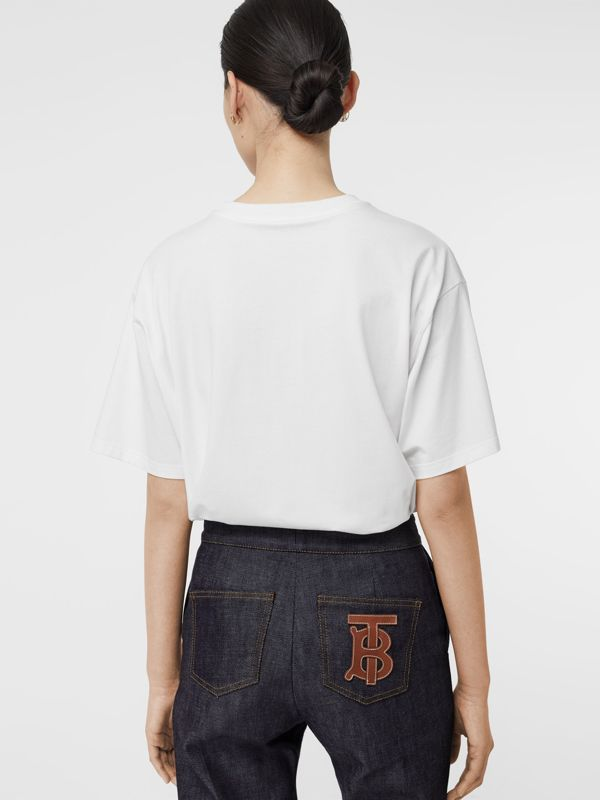 Logo Print Stretch Cotton Oversized T-shirt in Optic White - Women | Burberry Australia - cell image 2