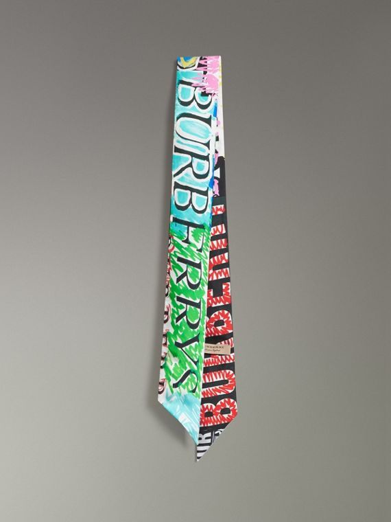 Tag Print Silk Skinny Scarf in Multicolour
