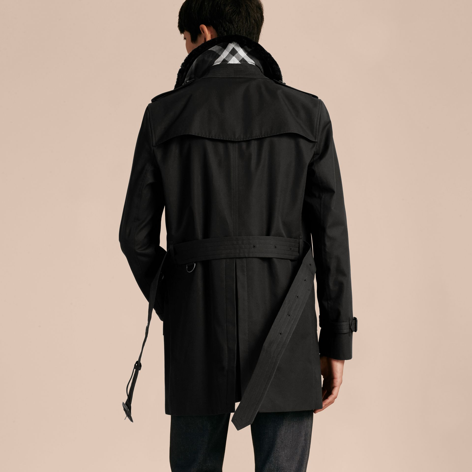 Black Detachable Shearling Topcollar Cotton Gabardine Trench Coat with Warmer Black - gallery image 3