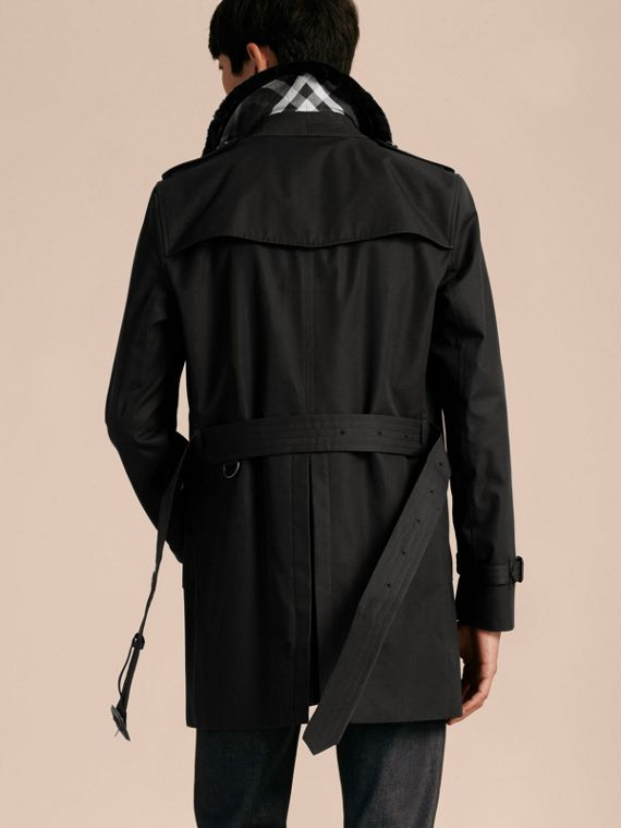 Black Detachable Shearling Topcollar Cotton Gabardine Trench Coat with Warmer Black - cell image 2