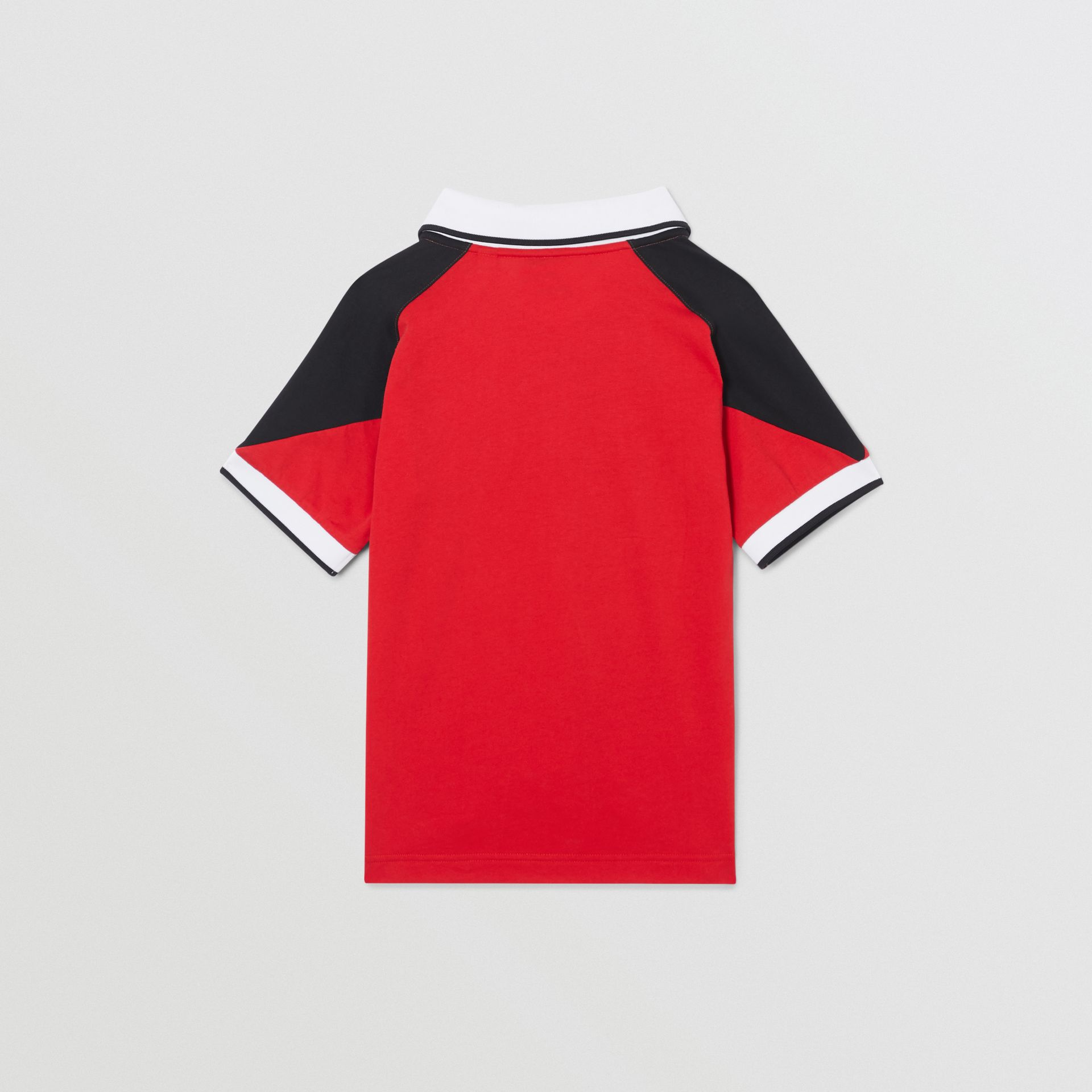 Logo Print Cotton Polo Shirt in Bright Red | Burberry - gallery image 3