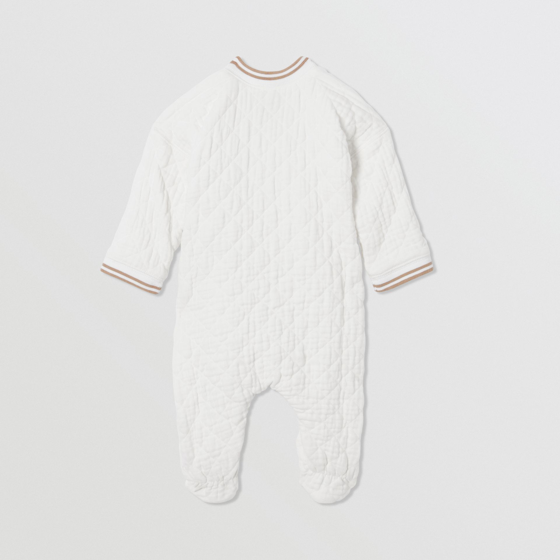 Thomas Bear Detail Quilted Cotton All-in-One in White - Children | Burberry - gallery image 2
