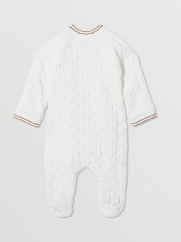 Thomas Bear Detail Quilted Cotton All-in-One in White - Children | Burberry - cell image 2