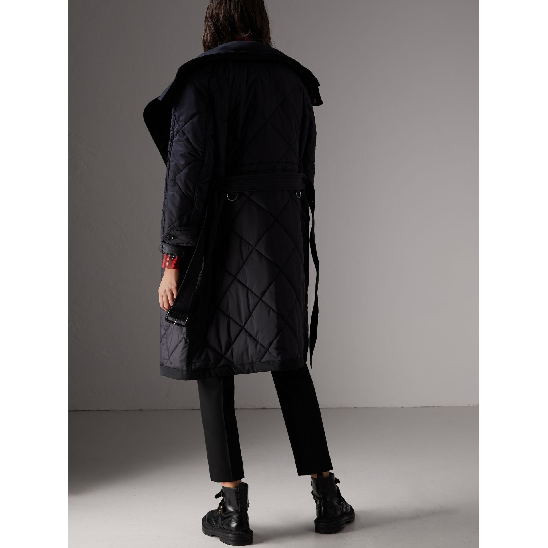 Packaway Hood Diamond Quilted Coat in Black - Women | Burberry - gallery image 2