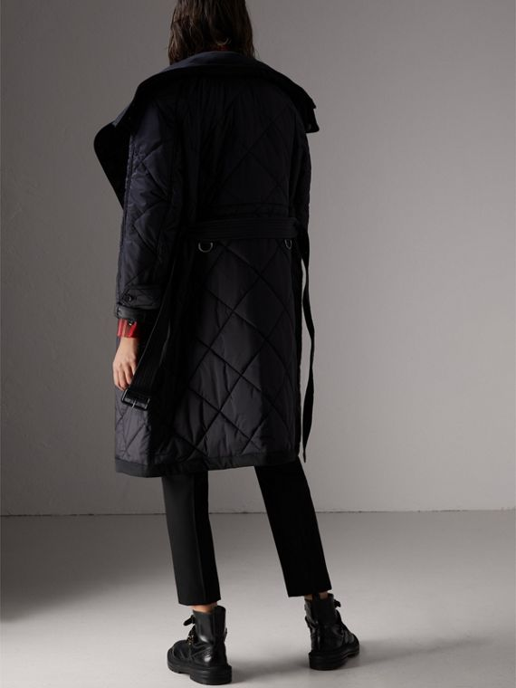 Packaway Hood Diamond Quilted Coat in Black - Women | Burberry - cell image 2