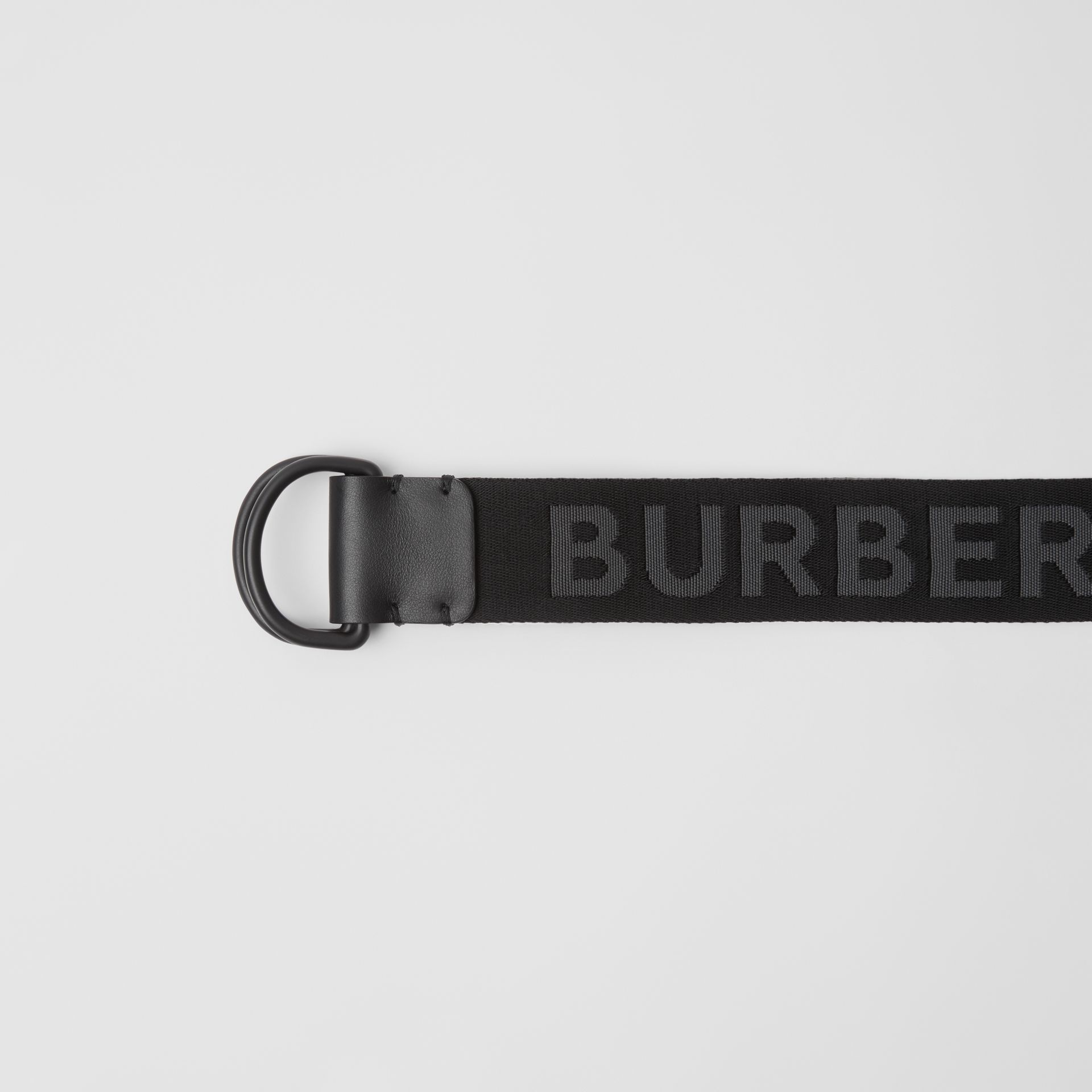 Logo Detail Double D-ring Belt in Black - Men | Burberry - gallery image 1