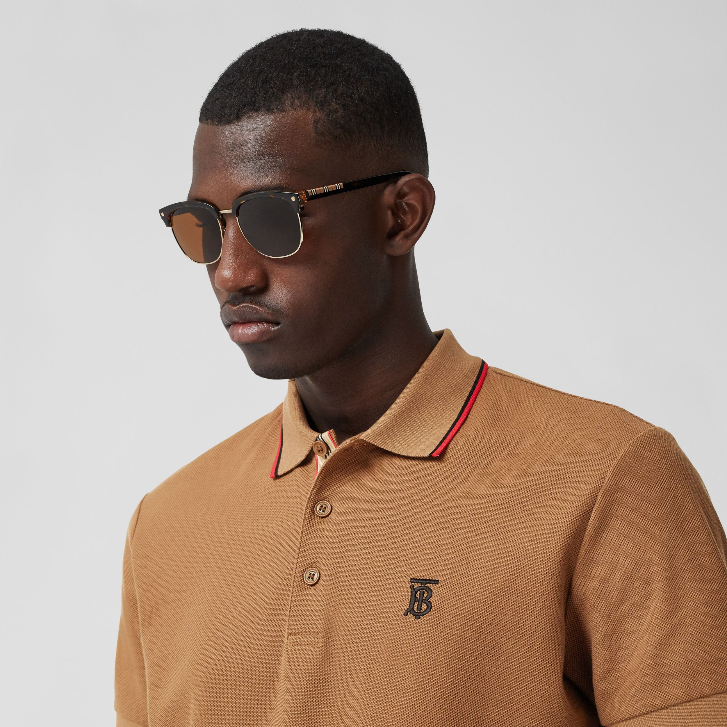 Monogram Motif Cotton Piqué Polo Shirt in Warm Brown - Men | Burberry - 2