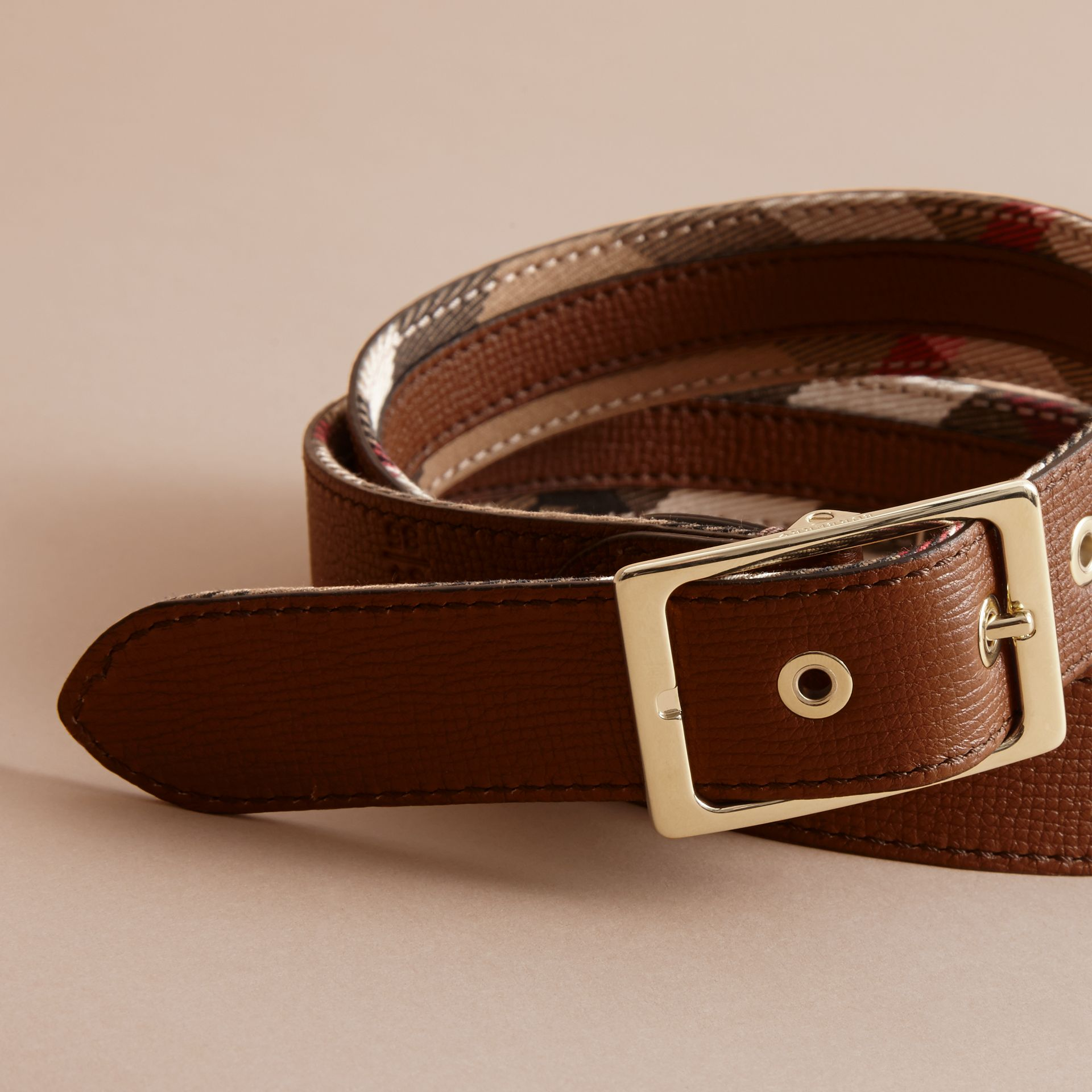House Check and Grainy Leather Belt in Camel/tan - Women | Burberry - gallery image 4