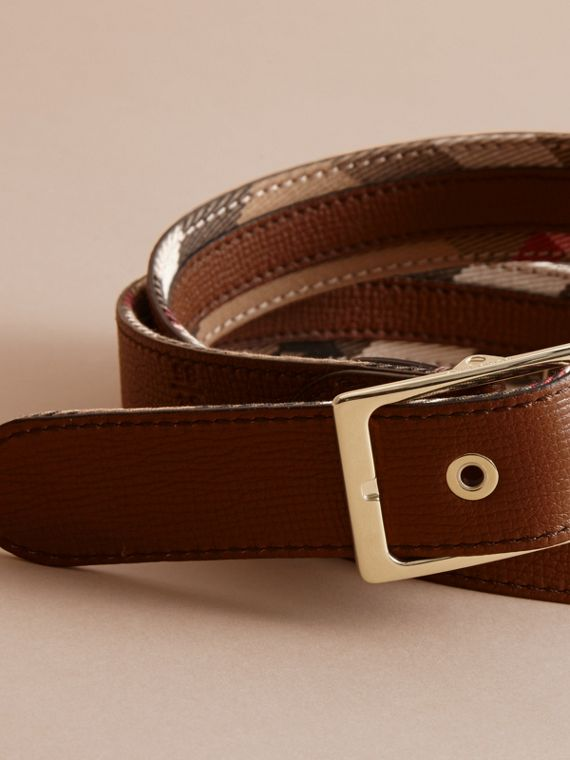 House Check and Grainy Leather Belt in Camel/tan - Women | Burberry - cell image 3