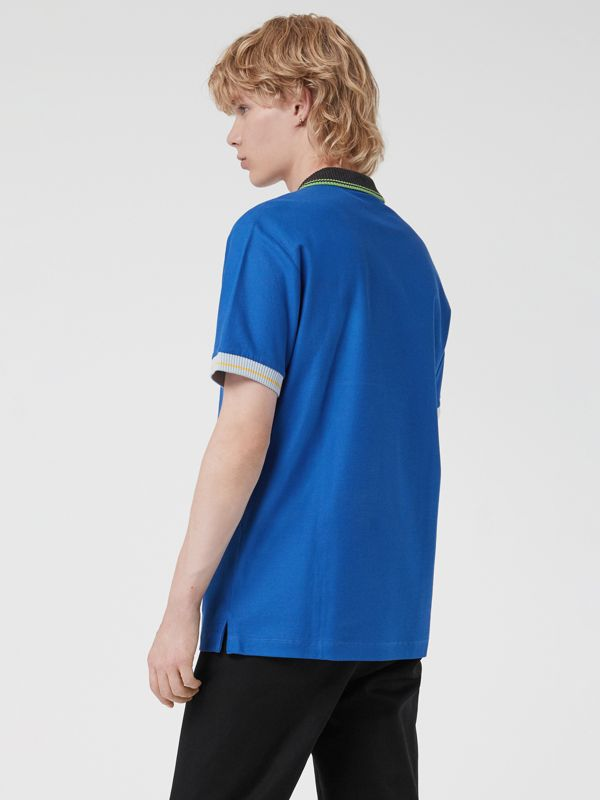 Tipped Cotton Piqué Polo Shirt in Cerulean Blue - Men | Burberry Canada - cell image 2